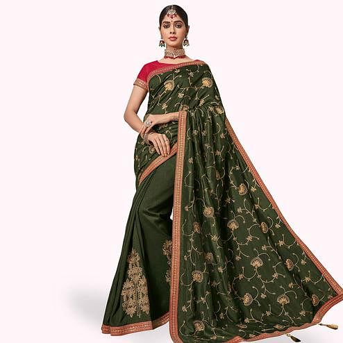 Ideal Green Colored Partywear Embroidered Raw Silk Saree
