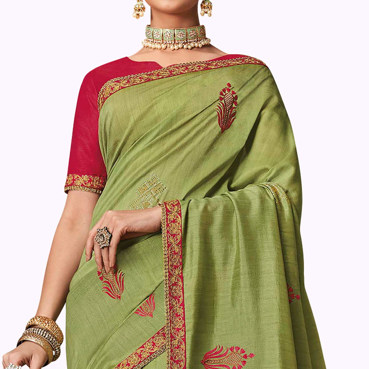 Magnetic Olive Green Colored Partywear Embroidered Raw Silk Saree
