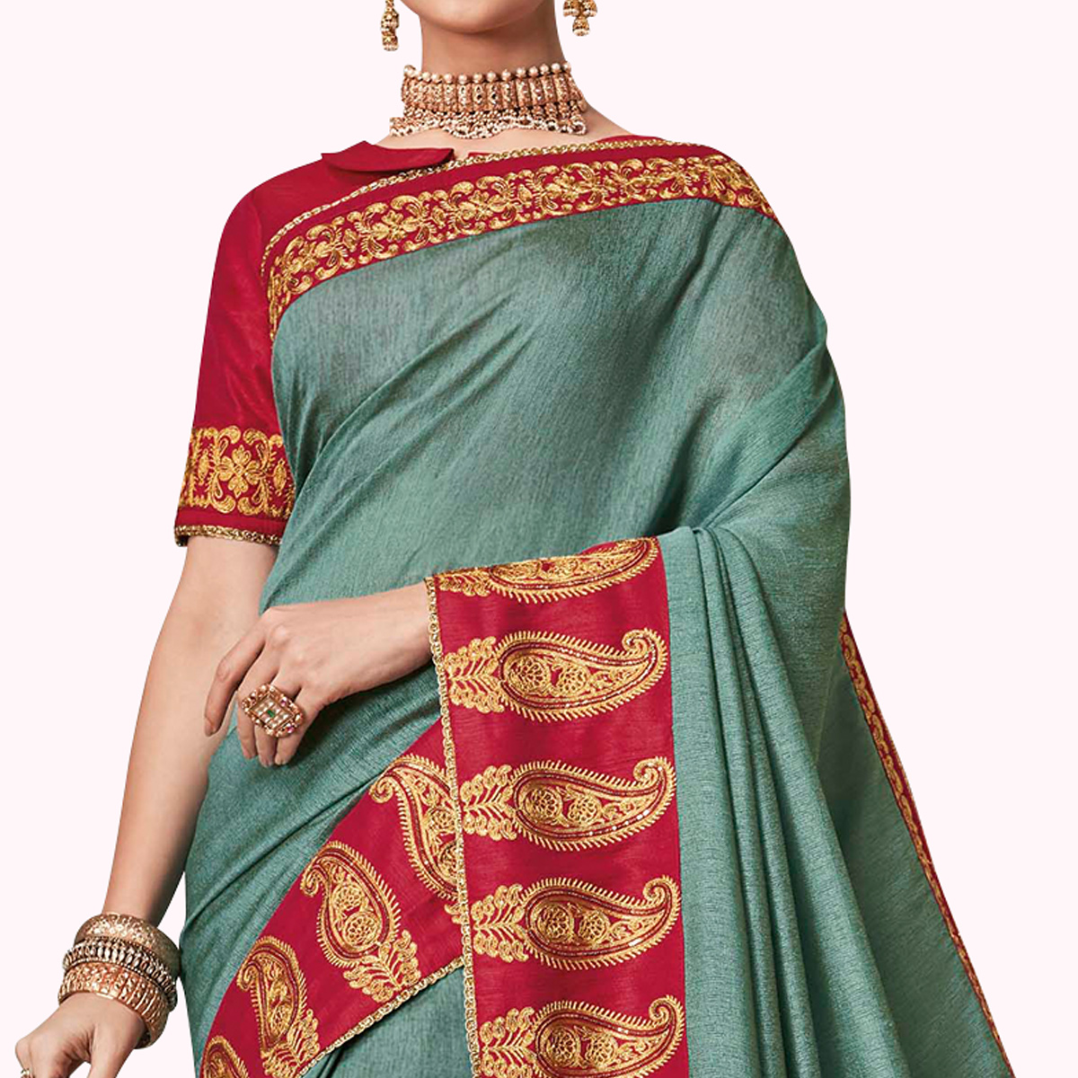 Hypnotic Teal Gray Colored Partywear Embroidered Raw Silk Saree