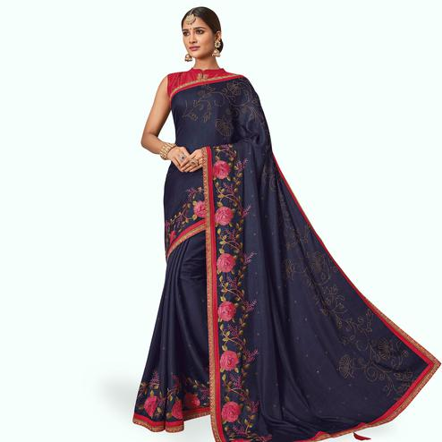Excellent Navy Blue Colored Partywear Embroidered Raw Silk Saree