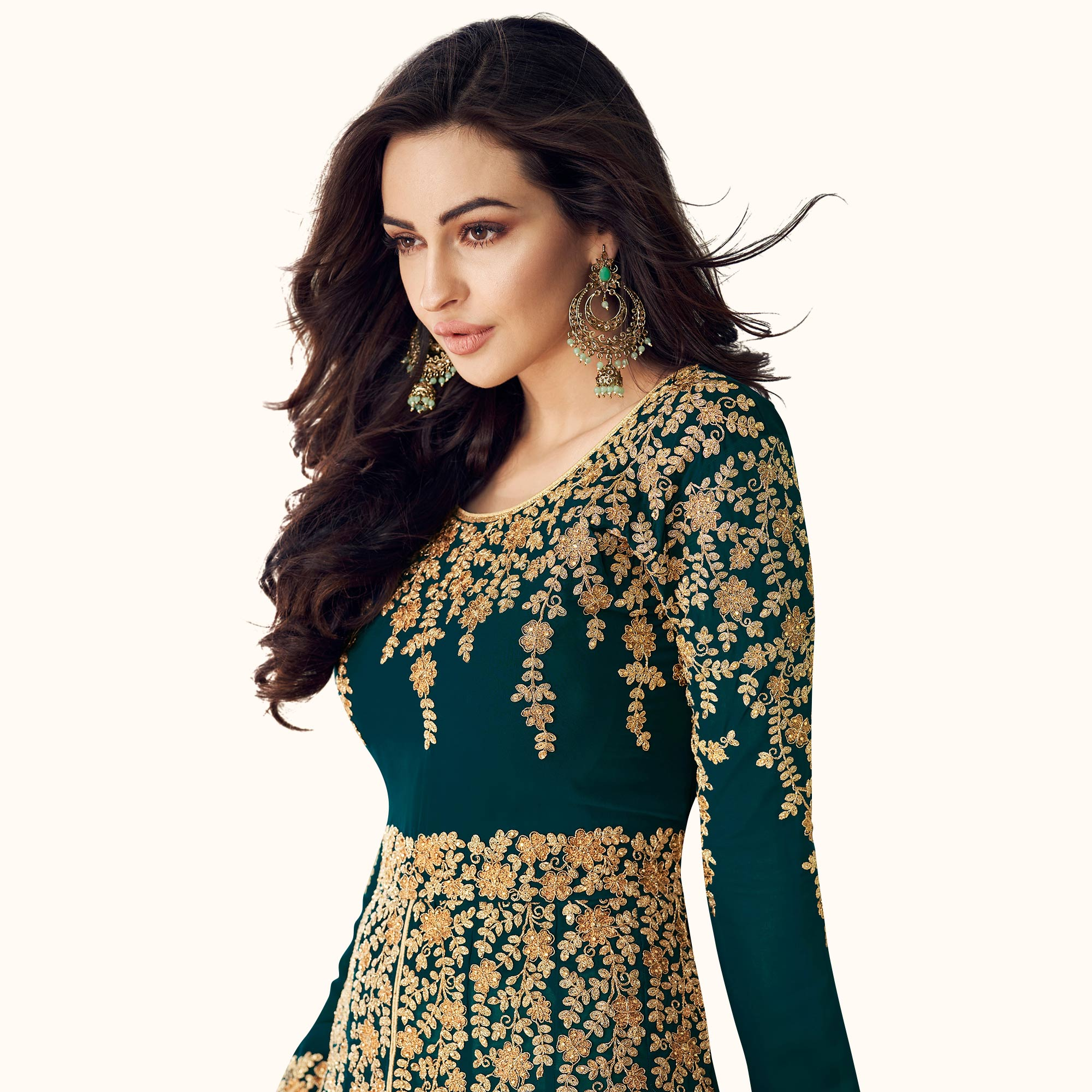 Excellent Dark Teal Green Colored Partywear Embroidered Faux Georgette Anarkali Suit