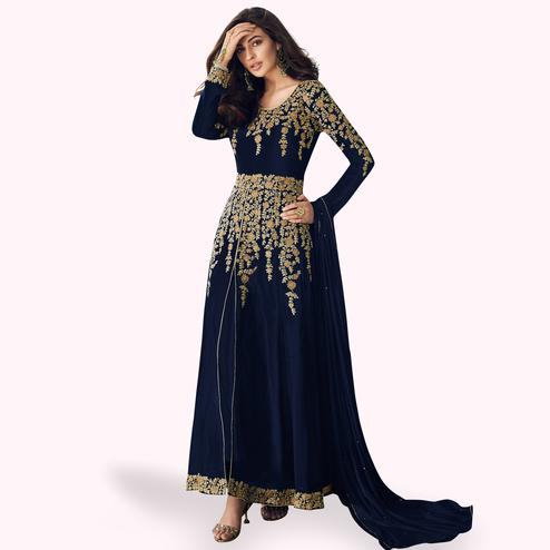 Preferable Navy Blue Colored Partywear Embroidered Faux Georgette Anarkali Suit