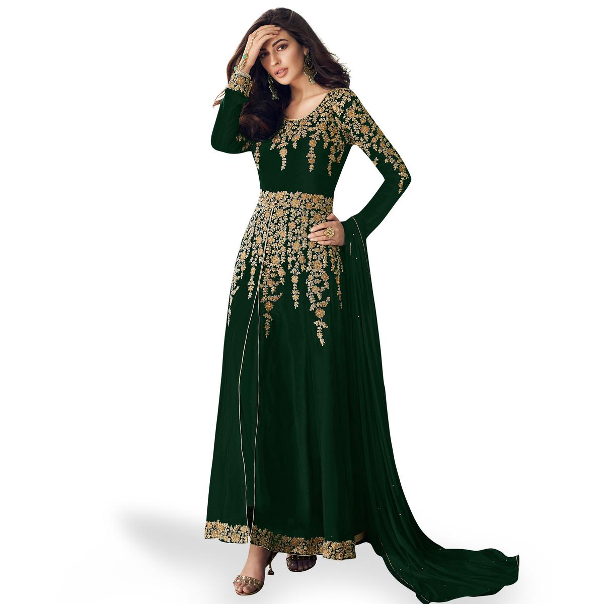 Marvellous Dark Green Colored Partywear Embroidered Faux Georgette Anarkali Suit