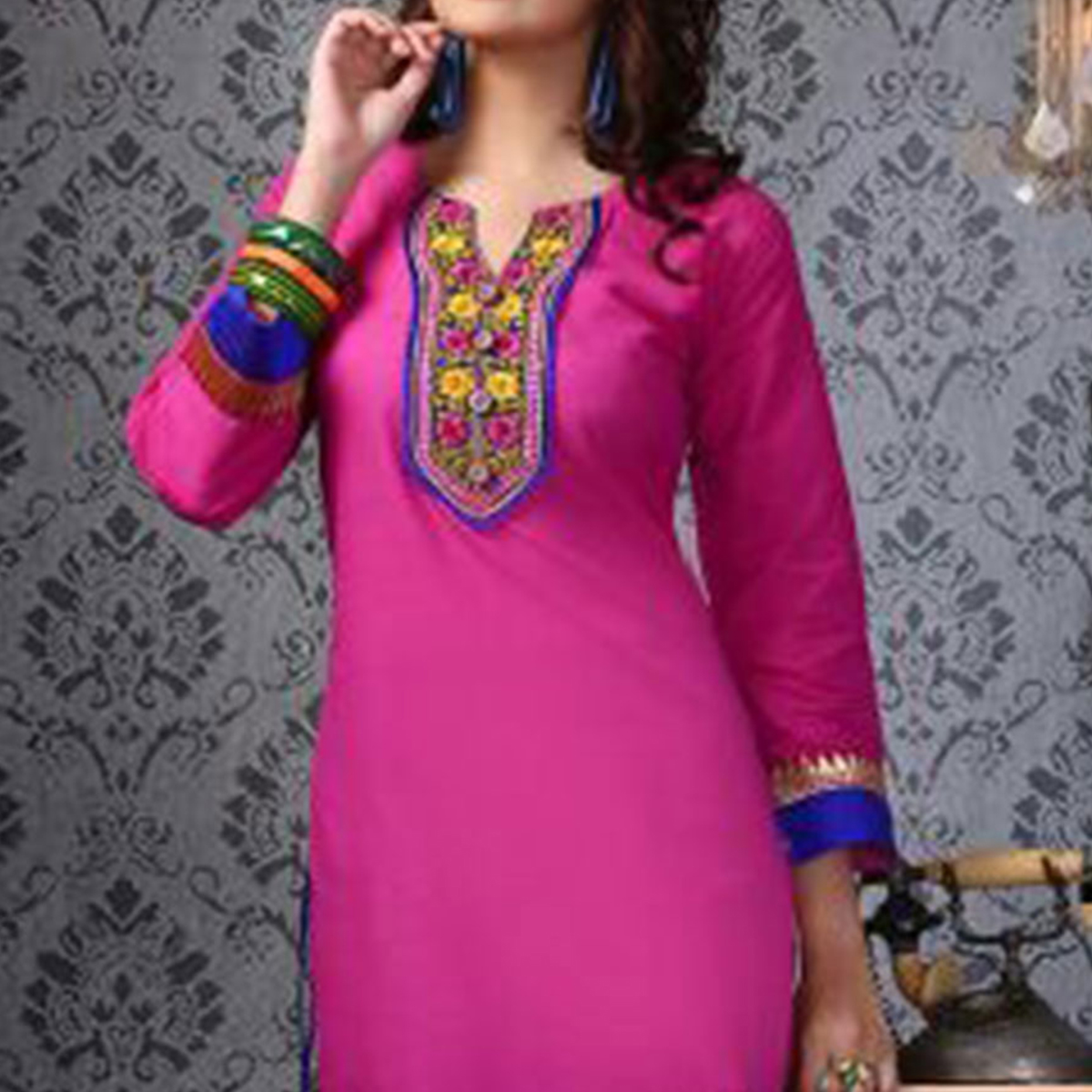 Dark Pink Embroidered Work Kurti
