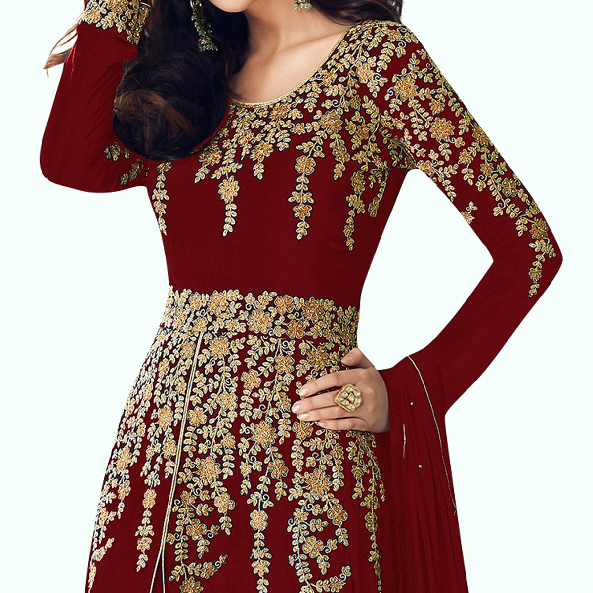 Flamboyant Red Colored Partywear Embroidered Faux Georgette Anarkali Suit