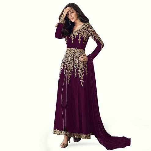 Sensational Purple Colored Partywear Embroidered Faux Georgette Anarkali Suit