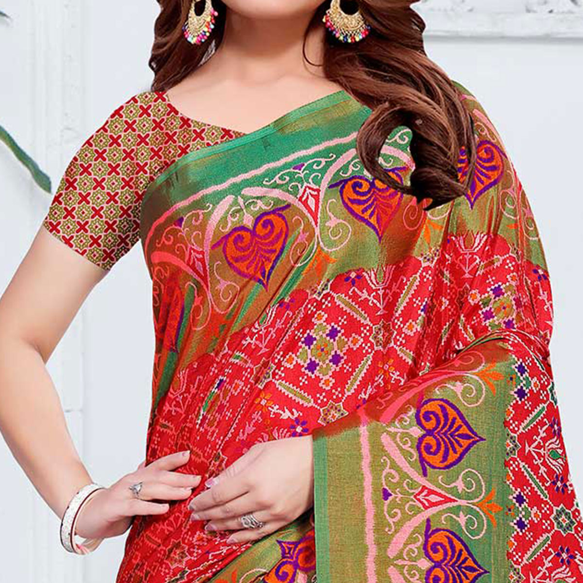Appealing Red Colored Casual Printed Patola Printed Art Silk Saree
