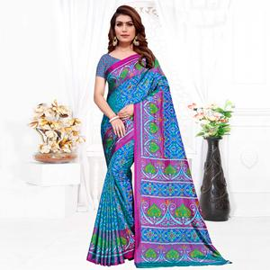 Capricious Sky Blue Colored Casual Printed Patola Printed Art Silk Saree