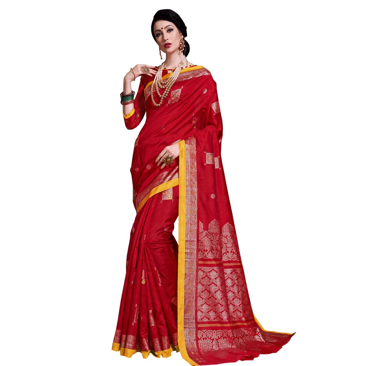 Desirable Red Colored Festive Wear Printed Art Silk Saree