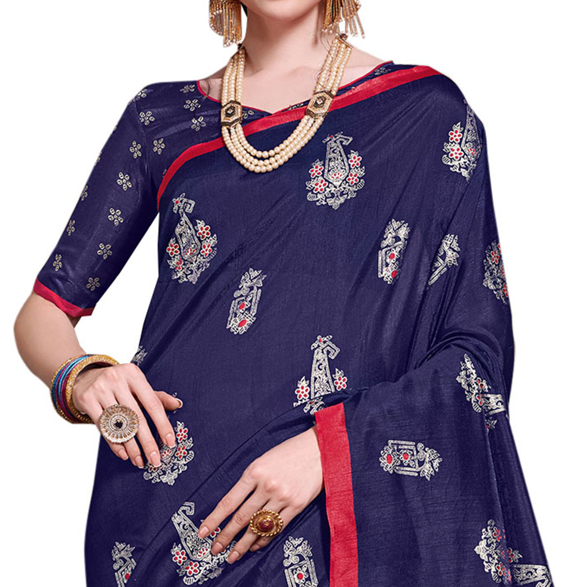 Exotic Navy Blue Colored Festive Wear Printed Art Silk Saree