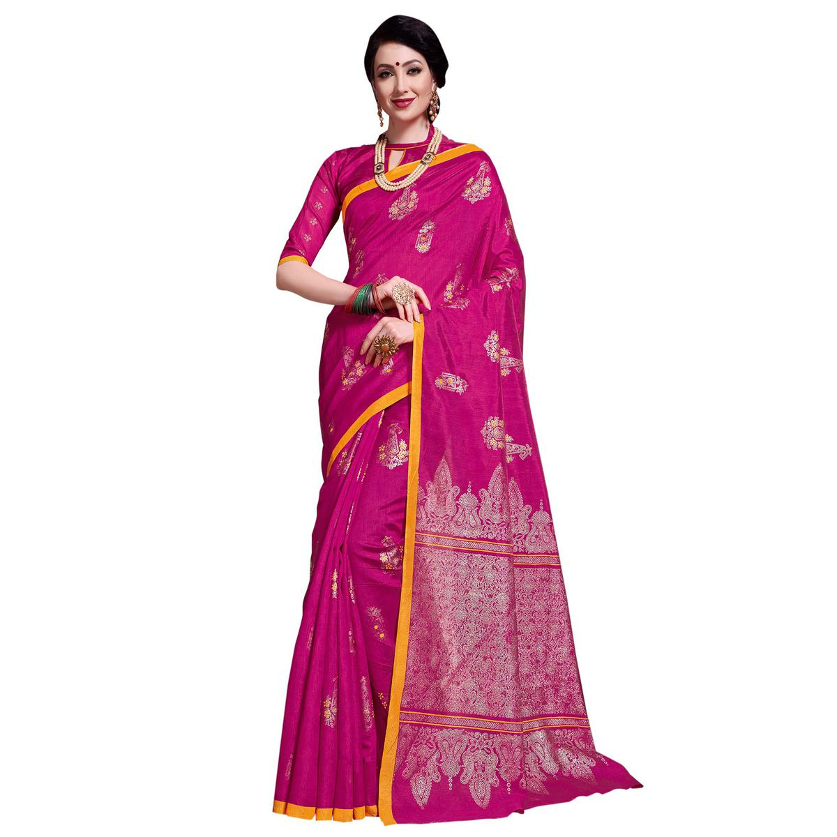 Sophisticated Pink Colored Festive Wear Printed Art Silk Saree