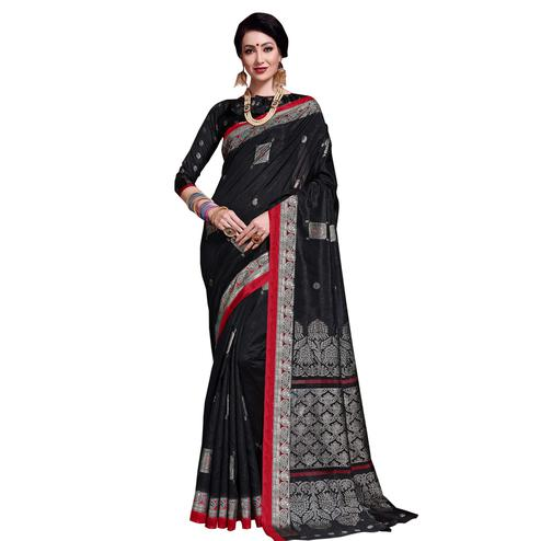Trendy Black Colored Festive Wear Printed Art Silk Saree