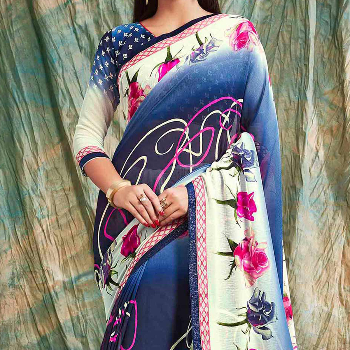 Shaded Blue - Cream Printed Georgette Saree