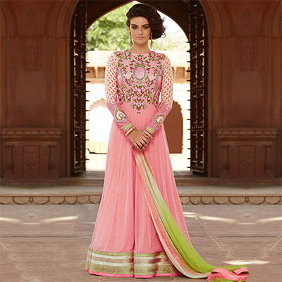 Elegant Pink High Neck Anarkali Suit