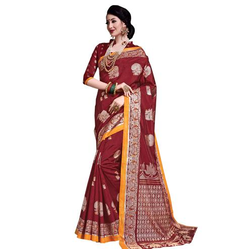Elegant Maroon Colored Festive Wear Printed Art Silk Saree