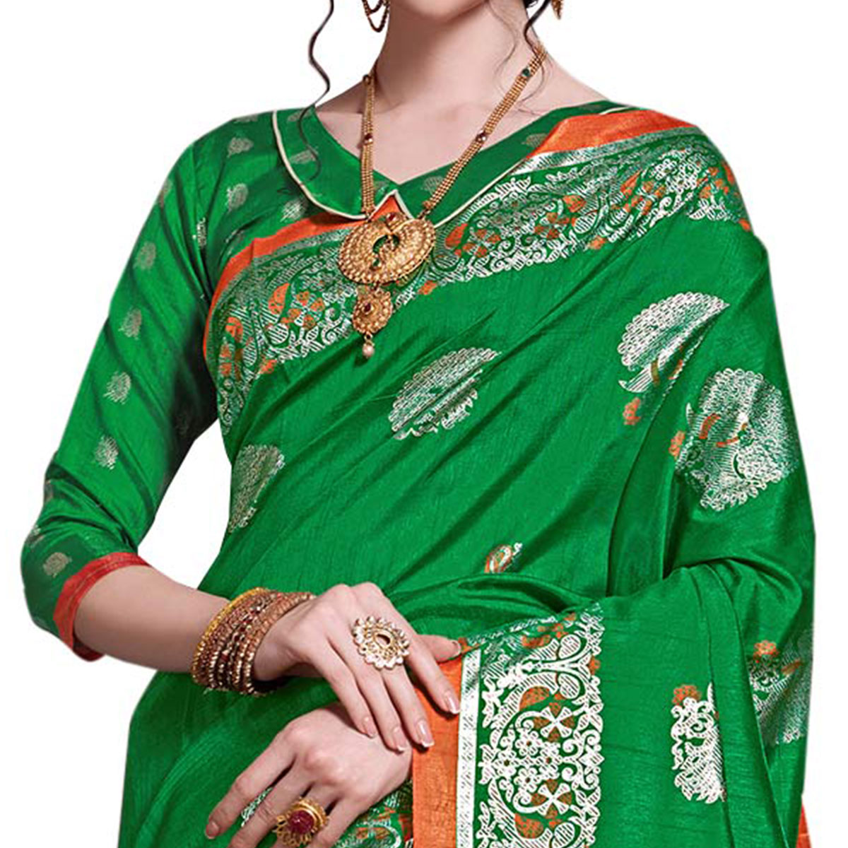Radiant Green Colored Festive Wear Printed Art Silk Saree