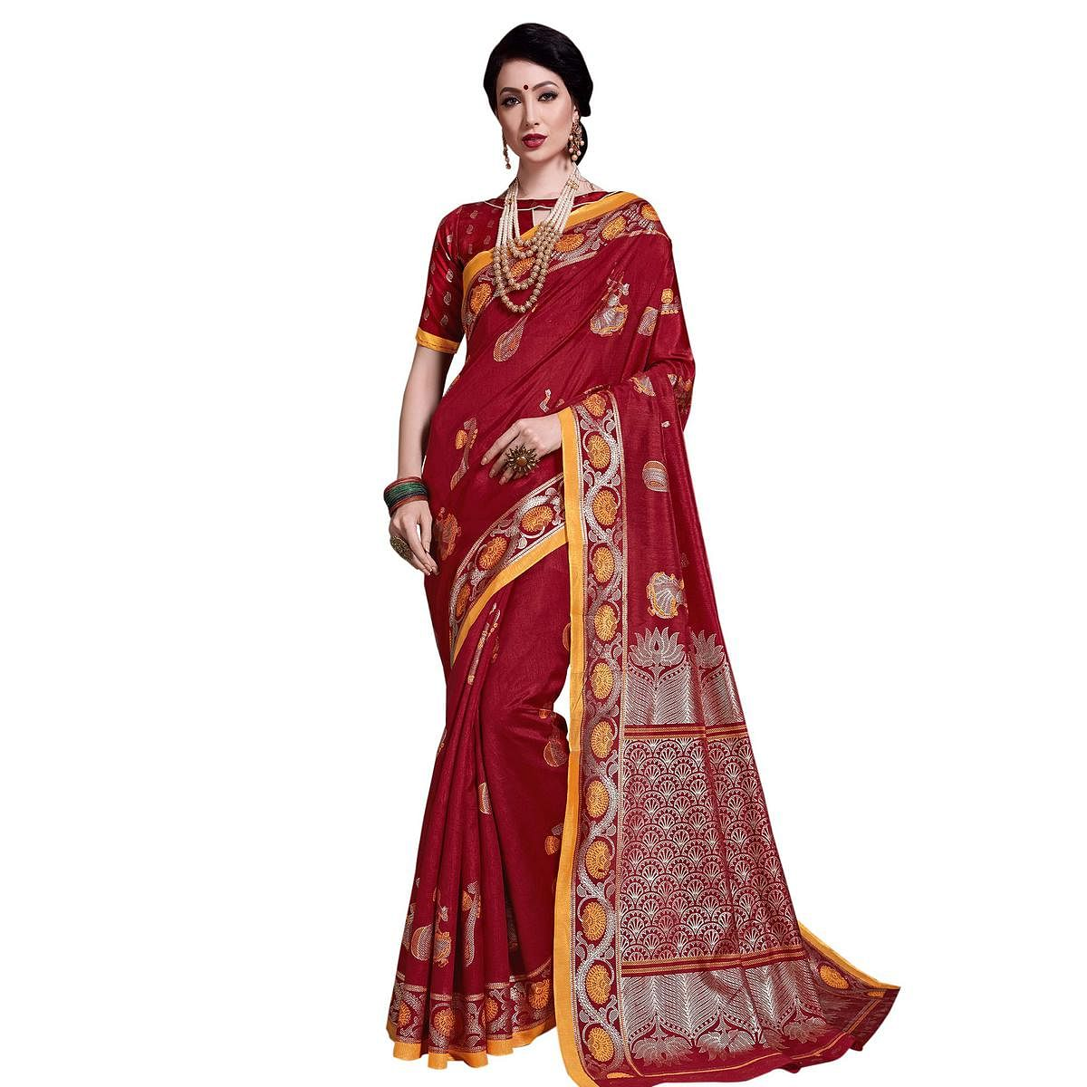 Pleasant Maroon Colored Festive Wear Printed Art Silk Saree