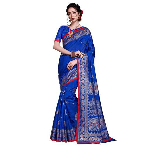 Opulent Blue Colored Festive Wear Printed Art Silk Saree