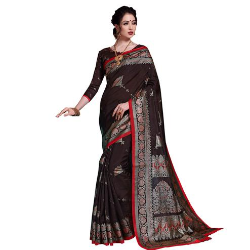 Energetic Brown Colored Festive Wear Printed Art Silk Saree
