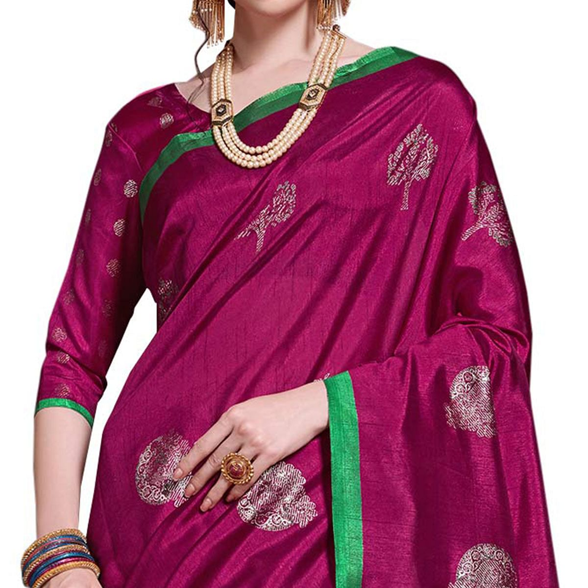Exceptional Magenta Pink Colored Festive Wear Printed Art Silk Saree