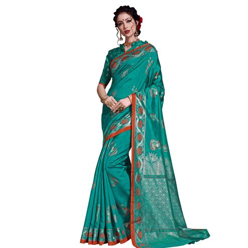 Gleaming Turquoise Green Colored Festive Wear Printed Art Silk Saree