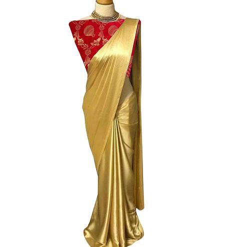 Breathtaking Golden-Red Colored Partywear Satin Silk Saree