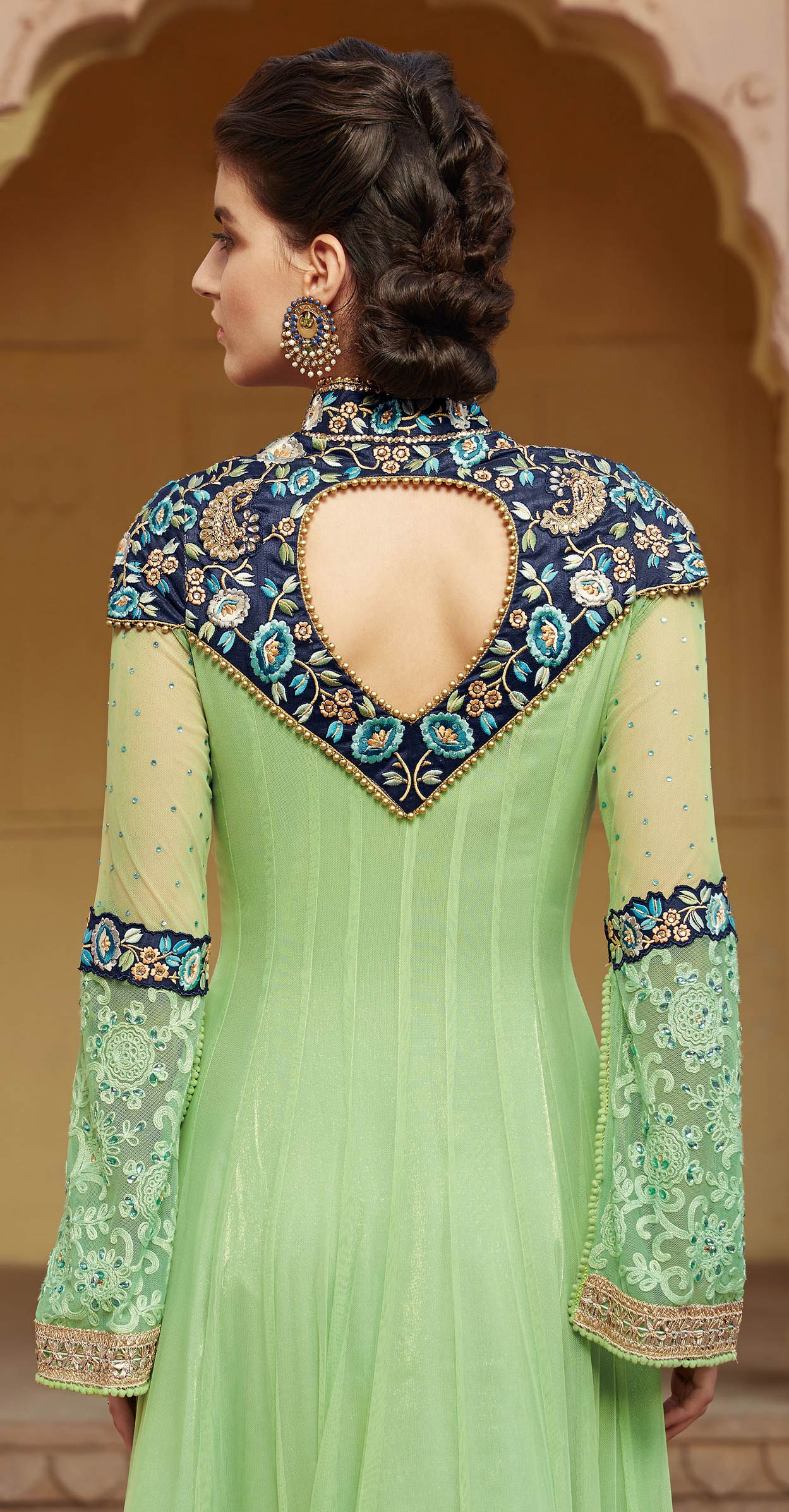 Pista Green Parsi Embroidery Anarkali Suit