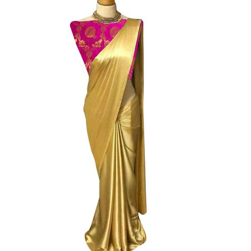 Staring Golden-Pink Colored Partywear Satin Silk Saree