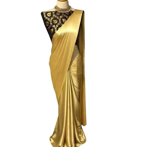 Dazzling Golden-Black Colored Partywear Satin Silk Saree