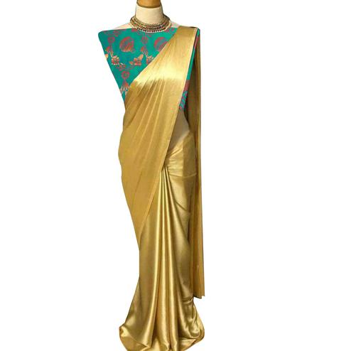 Surpassing Golden-Aqua Green Colored Partywear Satin Silk Saree