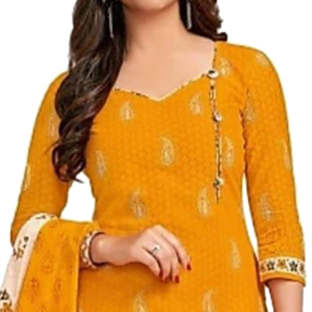 Beautiful Yellow Colored Casual Printed Crepe Dress Material