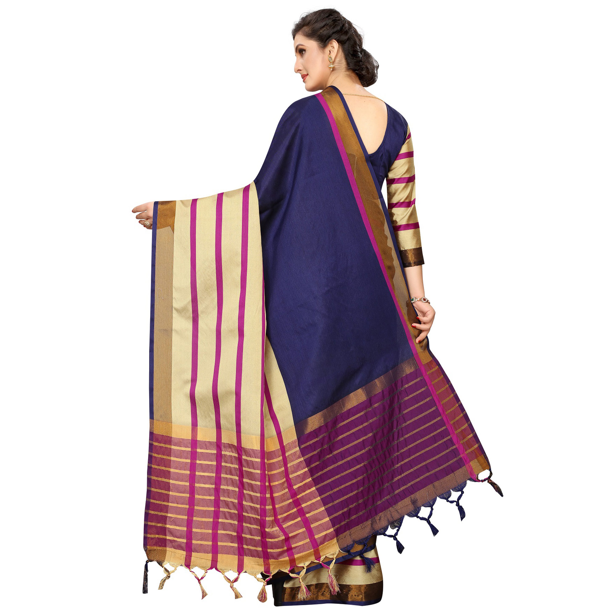Desiring Navy Blue Colored Festive Wear Woven Cotton Silk Saree