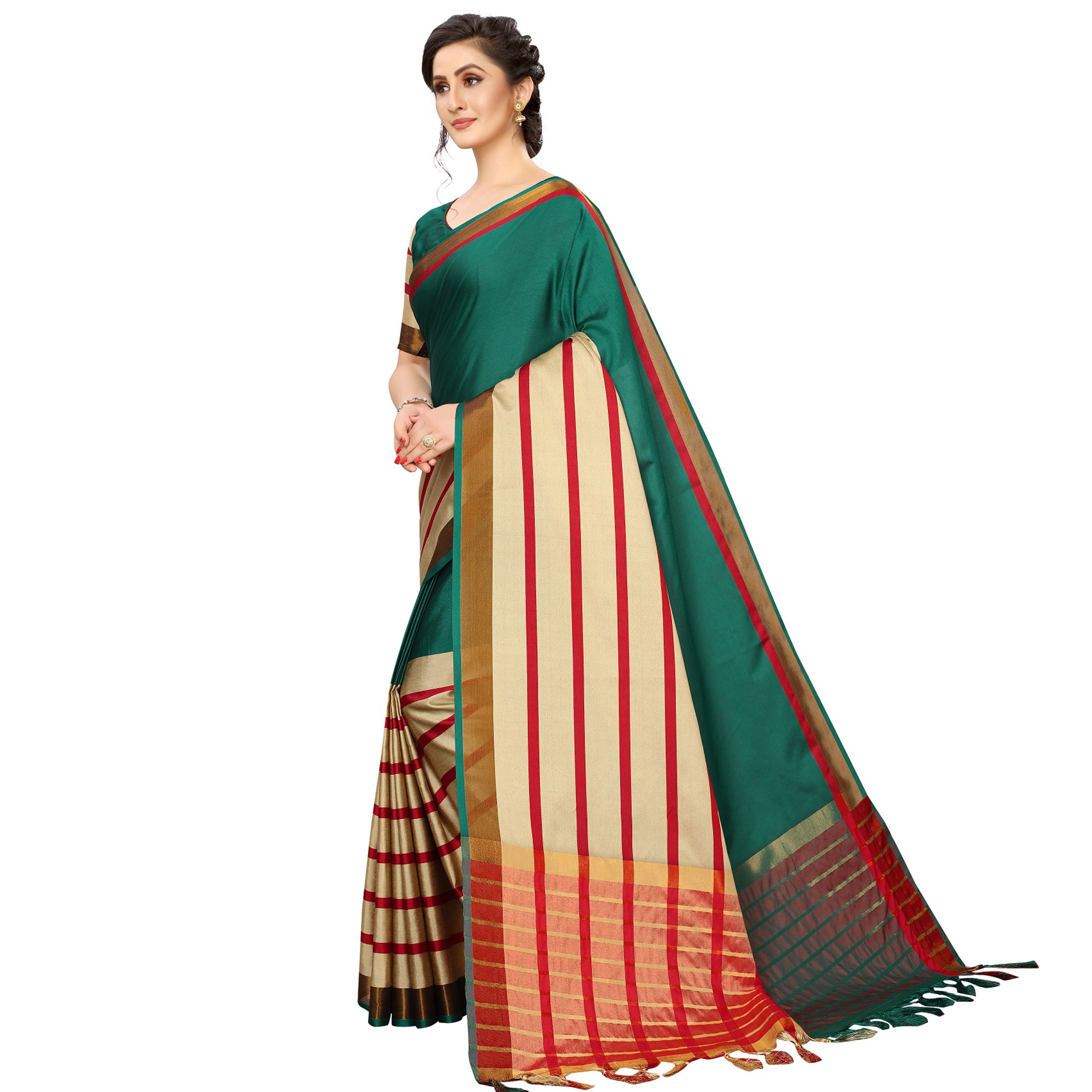 Adorable Teal Green Colored Festive Wear Woven Cotton Silk Saree