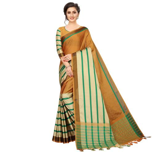 Demanding Mustard Yellow Colored Festive Wear Woven Cotton Silk Saree