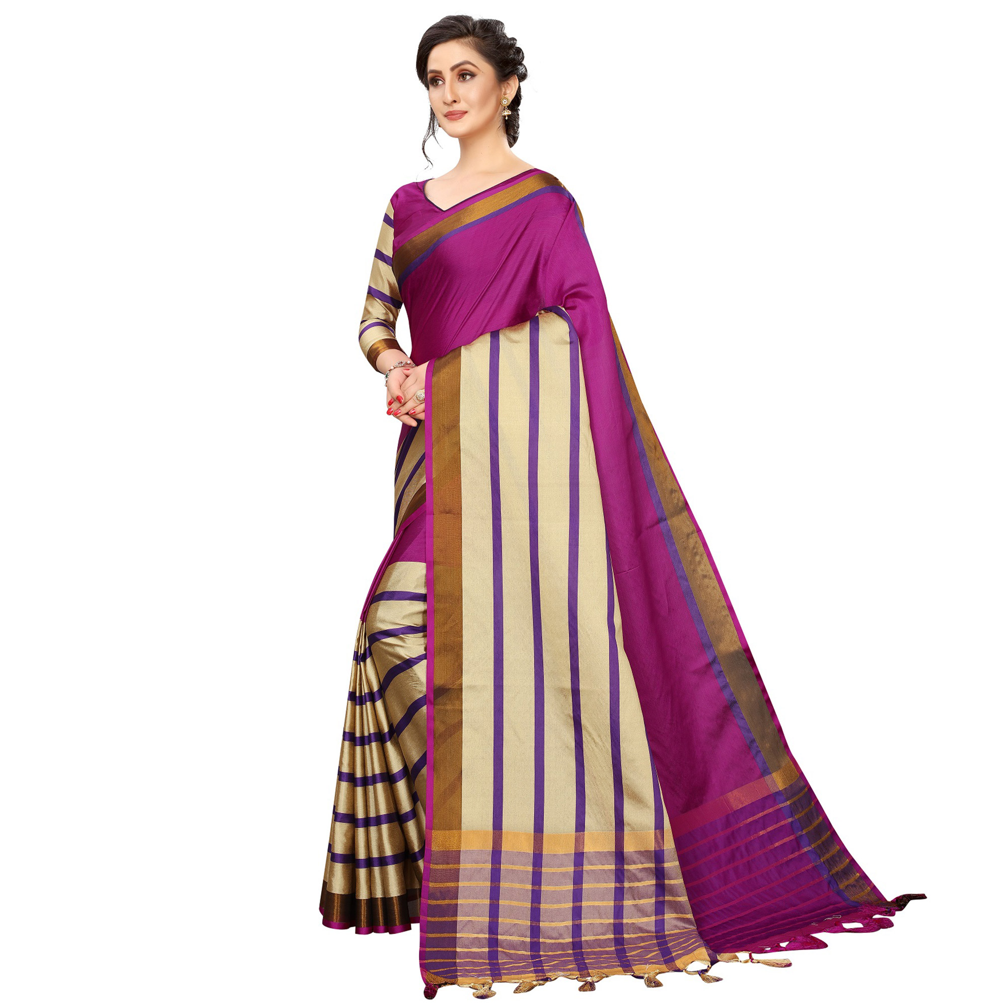 Jazzy Pink Colored Festive Wear Woven Cotton Silk Saree