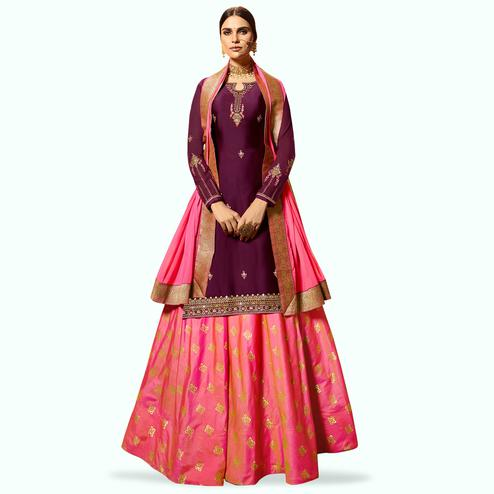 Stylish Purple Colored Partywear Embroidered Satin Georgette Lehenga Kameez