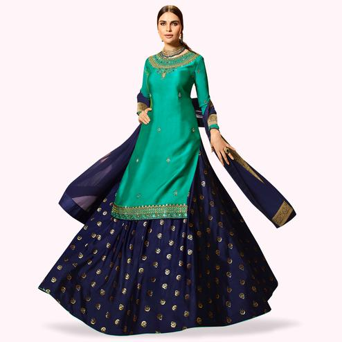 Fantastic Turquoise Green Colored Partywear Embroidered Satin Georgette Lehenga Kameez