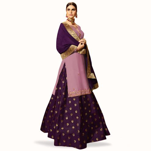 Marvellous Light Purple Colored Partywear Embroidered Satin Georgette Lehenga Kameez
