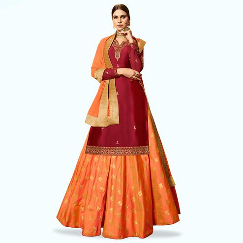 Fantastic Red Colored Partywear Embroidered Satin Georgette Lehenga Kameez