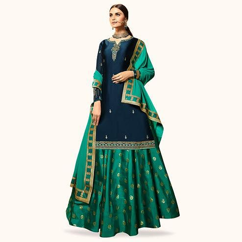 Sophisticated Navy Blue Colored Partywear Embroidered Satin Georgette Lehenga Kameez