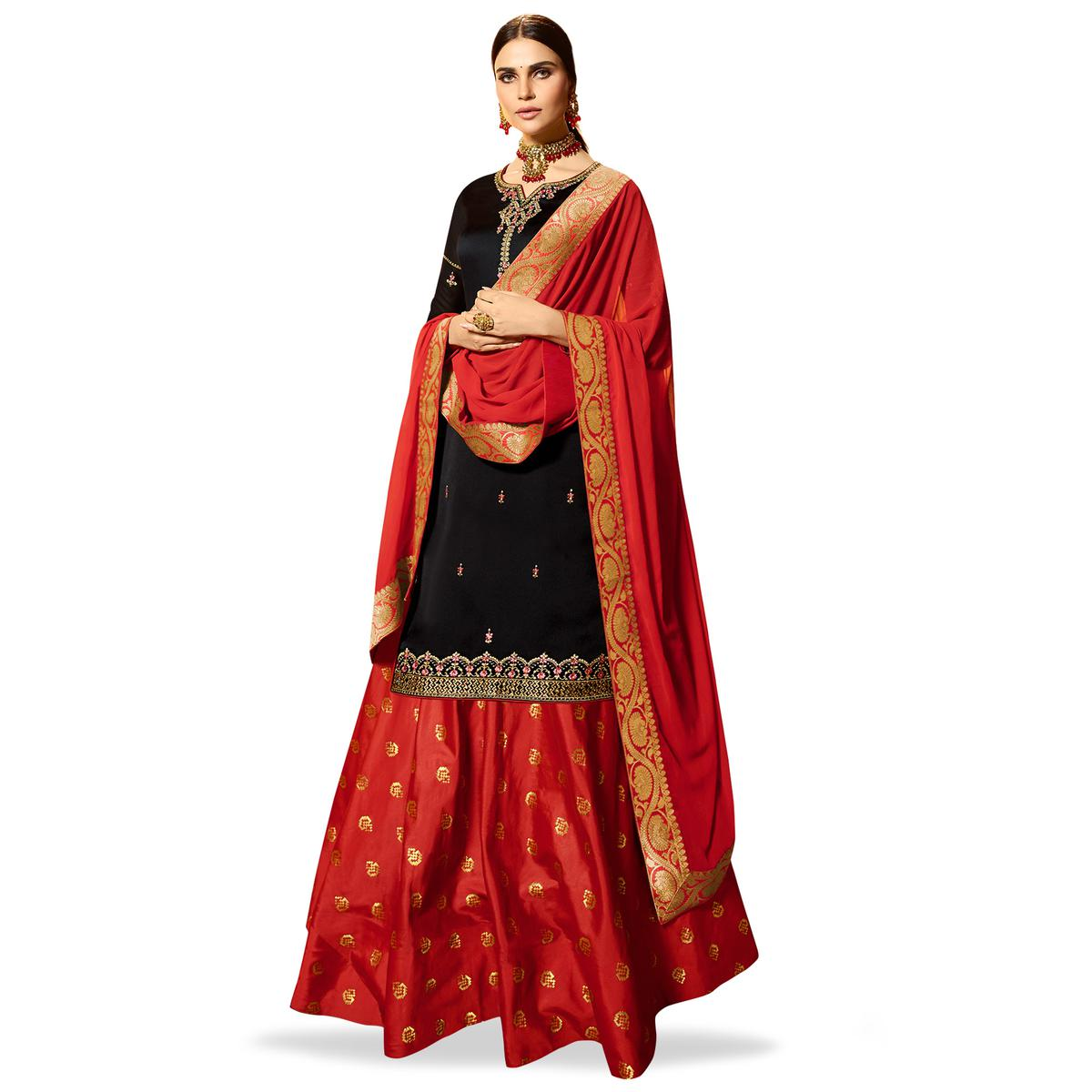 Flaunt Black Colored Partywear Embroidered Satin Georgette Lehenga Kameez