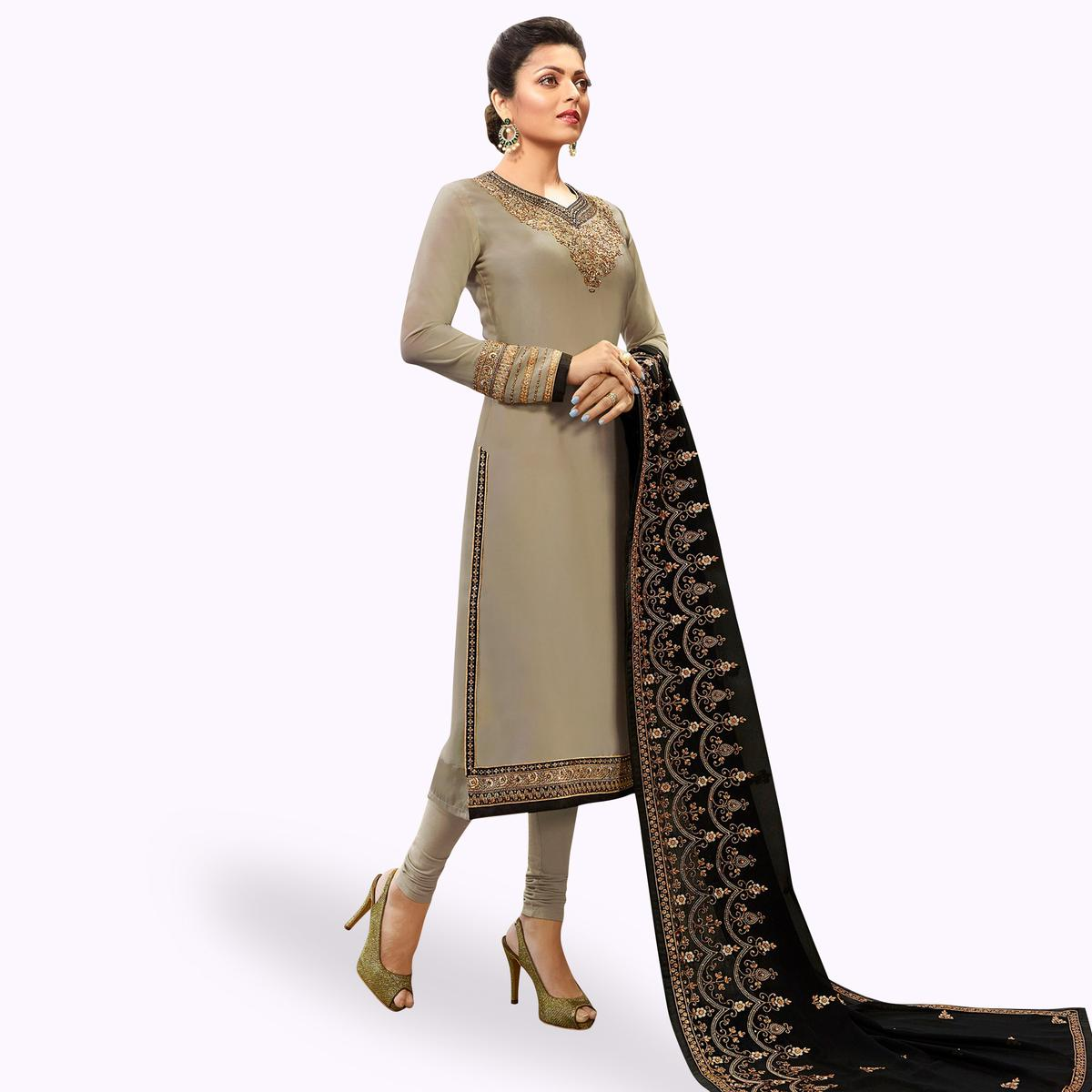Stunning Gray-Black Colored Partywear Embroidered Georgette Satin Suit