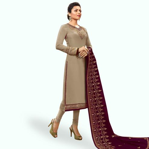 Fantastic Gray-Maroon Colored Partywear Embroidered Georgette Satin Suit