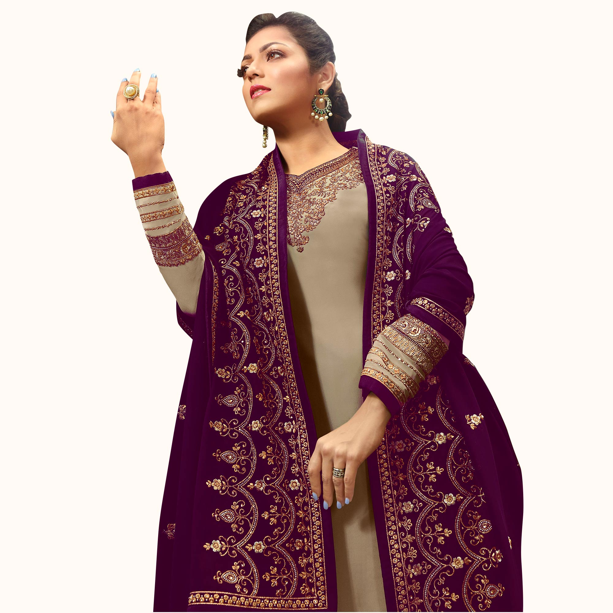 Marvellous Gray-Purple Colored Partywear Embroidered Georgette Satin Suit