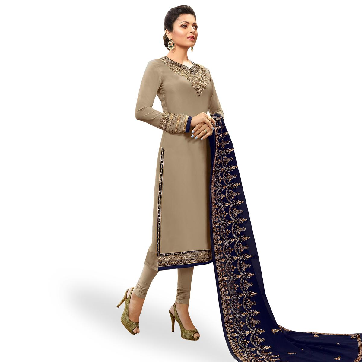Mesmerising Gray-Blue Colored Partywear Embroidered Georgette Satin Suit