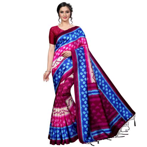 Sophisticated Pink-Multi Colored Festive Wear Banarasi Art Silk Saree