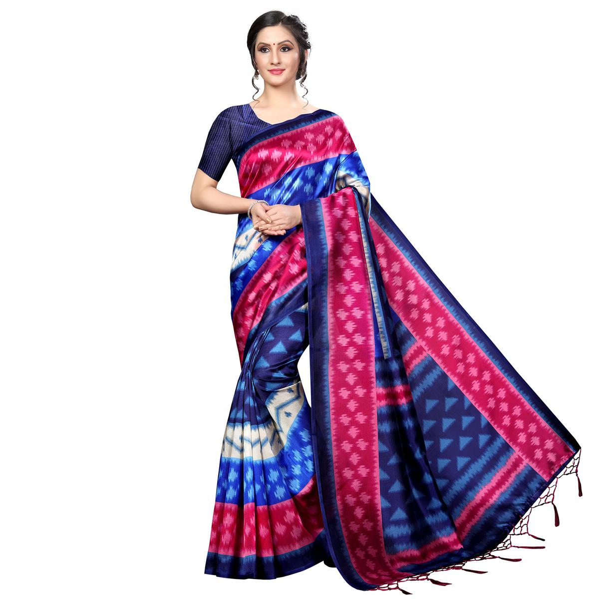 Trendy Blue-Multi Colored Festive Wear Banarasi Art Silk Saree