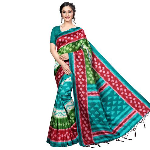 Radiant Green-Multi Colored Festive Wear Banarasi Art Silk Saree