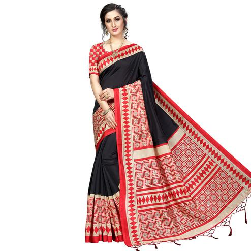 Pleasant Black Colored Festive Wear Banarasi Art Silk Saree
