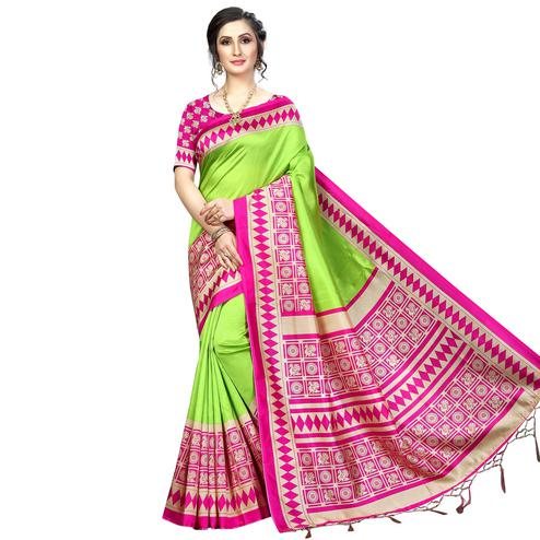 Opulent Green Colored Festive Wear Banarasi Art Silk Saree